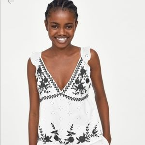 [Zara] TRF Collection Embroidered Eyelet Tank